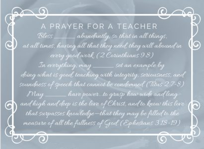 Teacher Prayer Printable