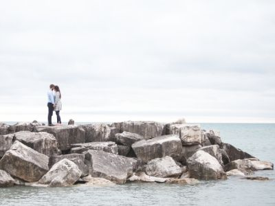 Couple in the future on rocks